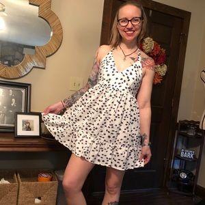 Double tie back polka dot print dress